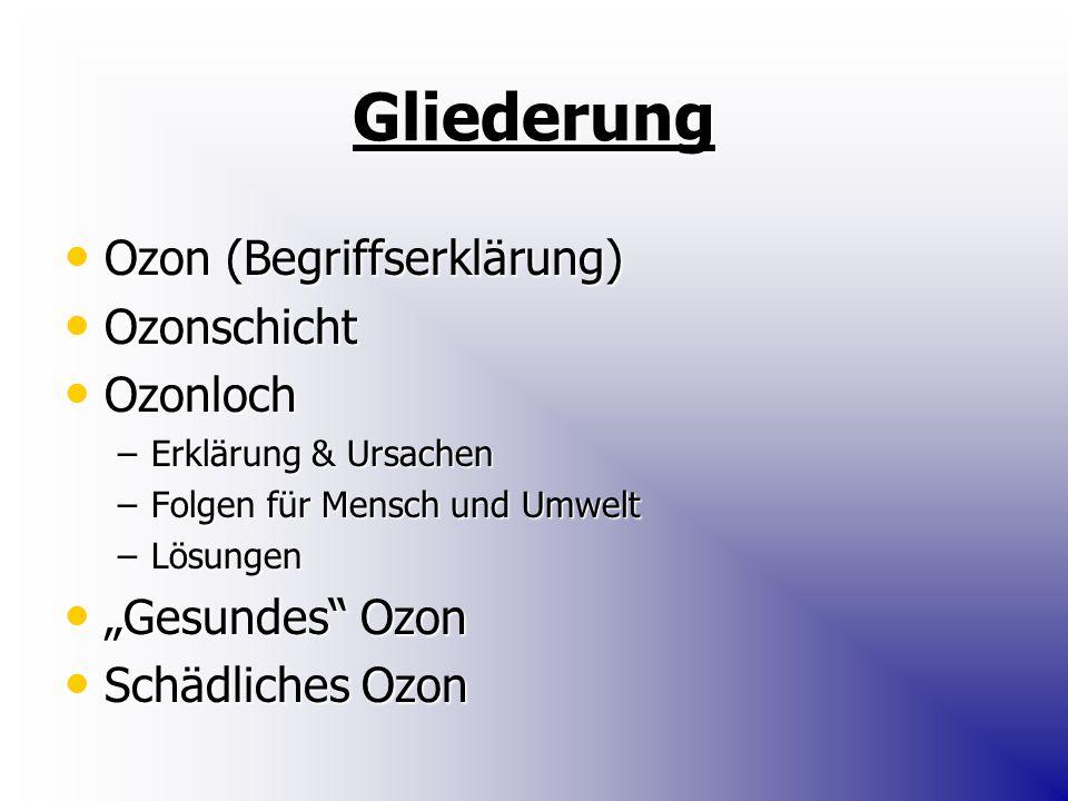 """Gliederung Ozon (Begriffserklärung) Ozon (Begriffserklärung) Ozonschicht Ozonschicht Ozonloch Ozonloch –Erklärung & Ursachen –Folgen für Mensch und Umwelt –Lösungen """"Gesundes Ozon """"Gesundes Ozon Schädliches Ozon Schädliches Ozon"""