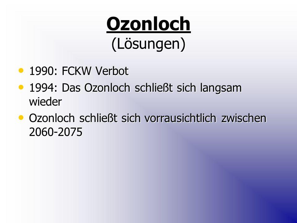 Ozonloch (Lösungen) 1990: FCKW Verbot 1990: FCKW Verbot 1994: Das Ozonloch schließt sich langsam wieder 1994: Das Ozonloch schließt sich langsam wieder Ozonloch schließt sich vorrausichtlich zwischen 2060-2075 Ozonloch schließt sich vorrausichtlich zwischen 2060-2075