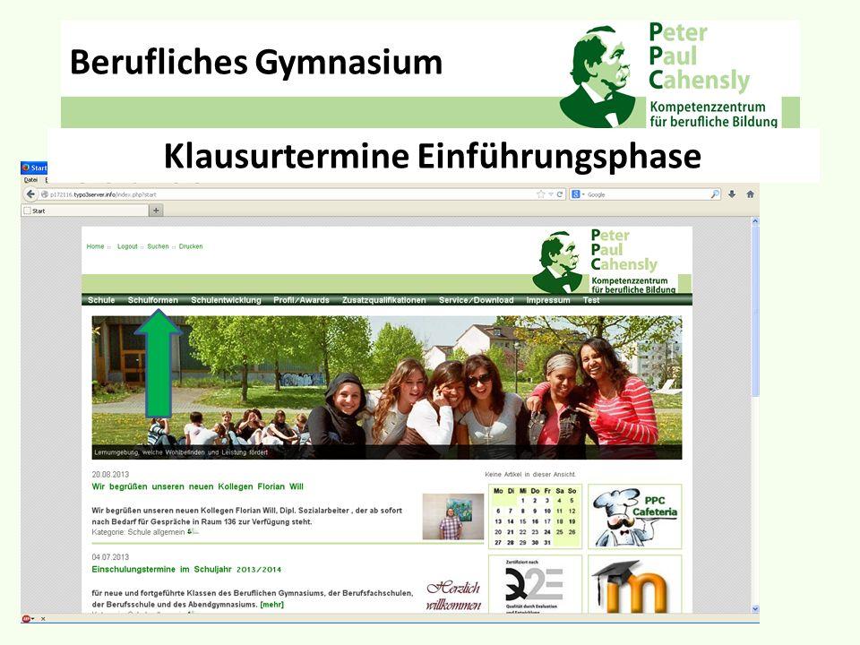 Be Klausurtermine Einführungsphase Berufliches Gymnasium Schulformen – Berufliches Gymnasium - Aktuelles