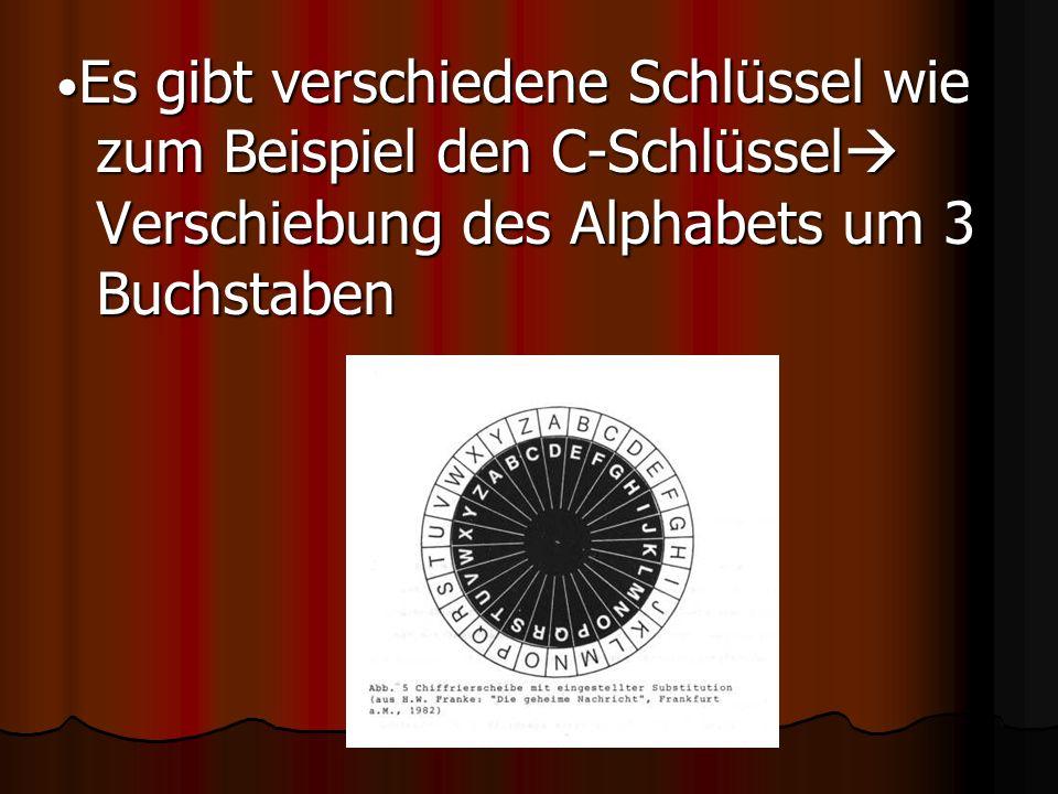 Es gibt verschiedene Schlüssel wie zum Beispiel den C-Schlüssel  Verschiebung des Alphabets um 3 Buchstaben Es gibt verschiedene Schlüssel wie zum Be