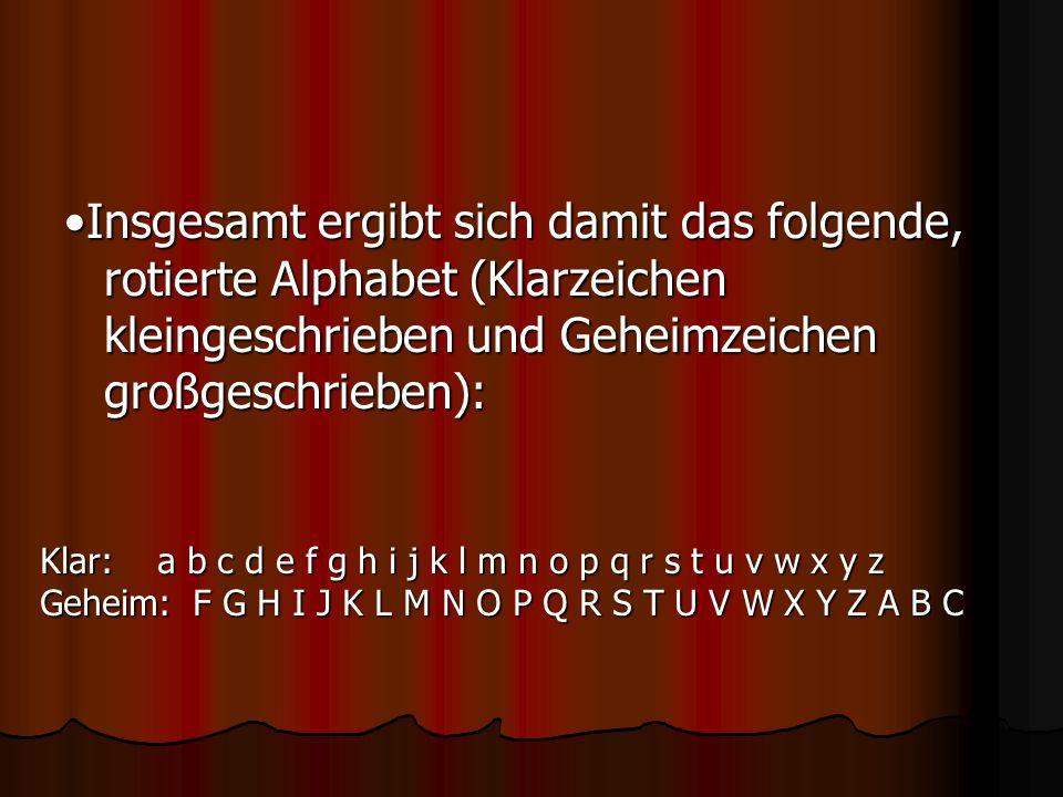 Insgesamt ergibt sich damit das folgende, rotierte Alphabet (Klarzeichen kleingeschrieben und Geheimzeichen großgeschrieben): Klar: a b c d e f g h i