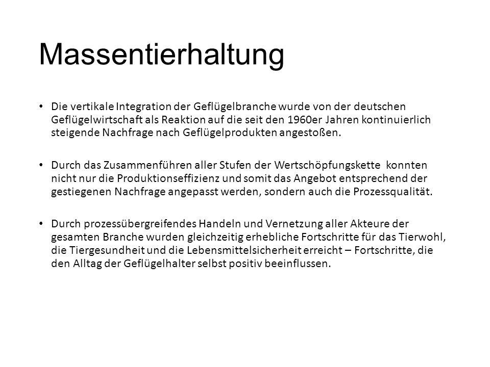 Massentierhaltung Die vertikale Integration der Geflügelbranche wurde von der deutschen Geflügelwirtschaft als Reaktion auf die seit den 1960er Jahren