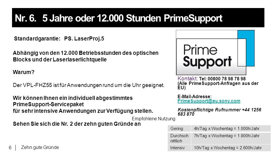 Zehn gute Gründe 6 Nr. 6.5 Jahre oder 12.000 Stunden PrimeSupport Standardgarantie: PS.