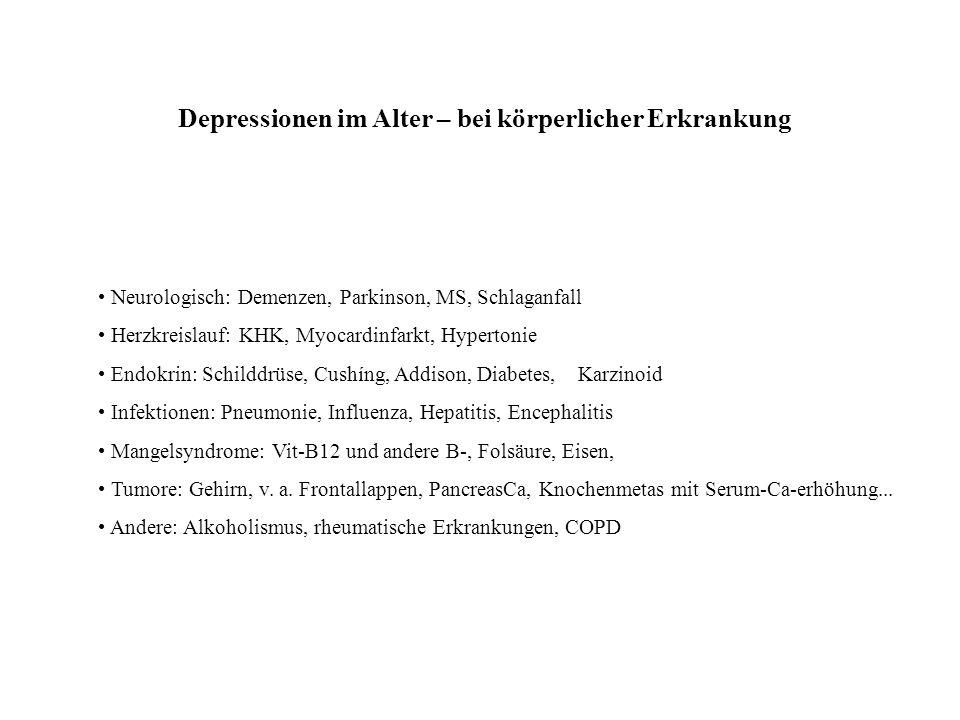 Depressionen im Alter – bei körperlicher Erkrankung Neurologisch: Demenzen, Parkinson, MS, Schlaganfall Herzkreislauf: KHK, Myocardinfarkt, Hypertonie