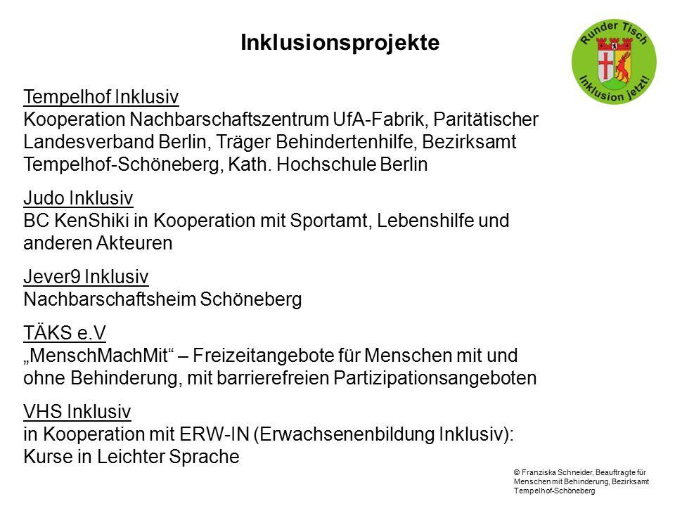 Inklusionsprojekte Tempelhof Inklusiv Kooperation Nachbarschaftszentrum UfA-Fabrik, Paritätischer Landesverband Berlin, Träger Behindertenhilfe, Bezirksamt Tempelhof-Schöneberg, Kath.