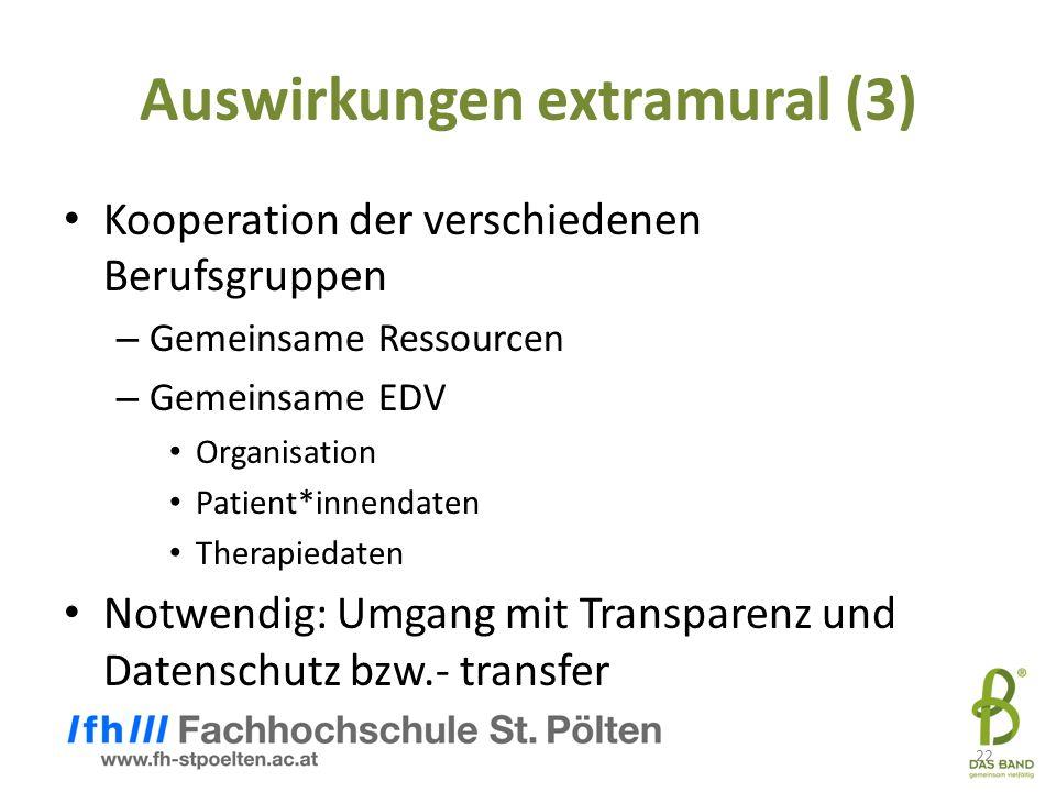22 Auswirkungen extramural (3) Kooperation der verschiedenen Berufsgruppen – Gemeinsame Ressourcen – Gemeinsame EDV Organisation Patient*innendaten Therapiedaten Notwendig: Umgang mit Transparenz und Datenschutz bzw.- transfer 22