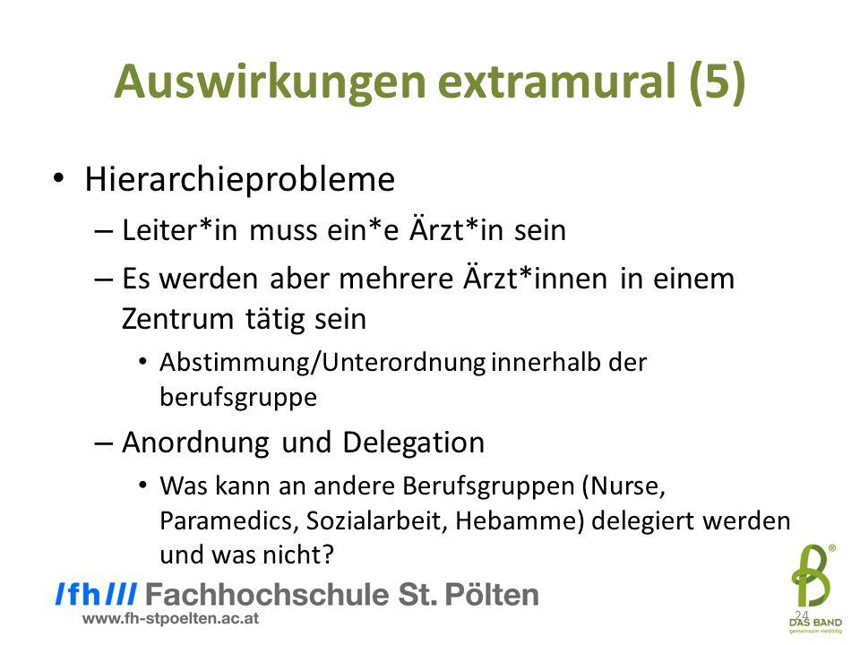 24 Auswirkungen extramural (5) Hierarchieprobleme – Leiter*in muss ein*e Ärzt*in sein – Es werden aber mehrere Ärzt*innen in einem Zentrum tätig sein