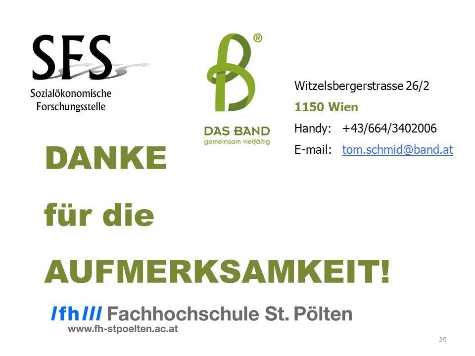 29 DANKE für die AUFMERKSAMKEIT! Witzelsbergerstrasse 26/2 1150 Wien Handy: +43/664/3402006 E-mail: tom.schmid@band.at