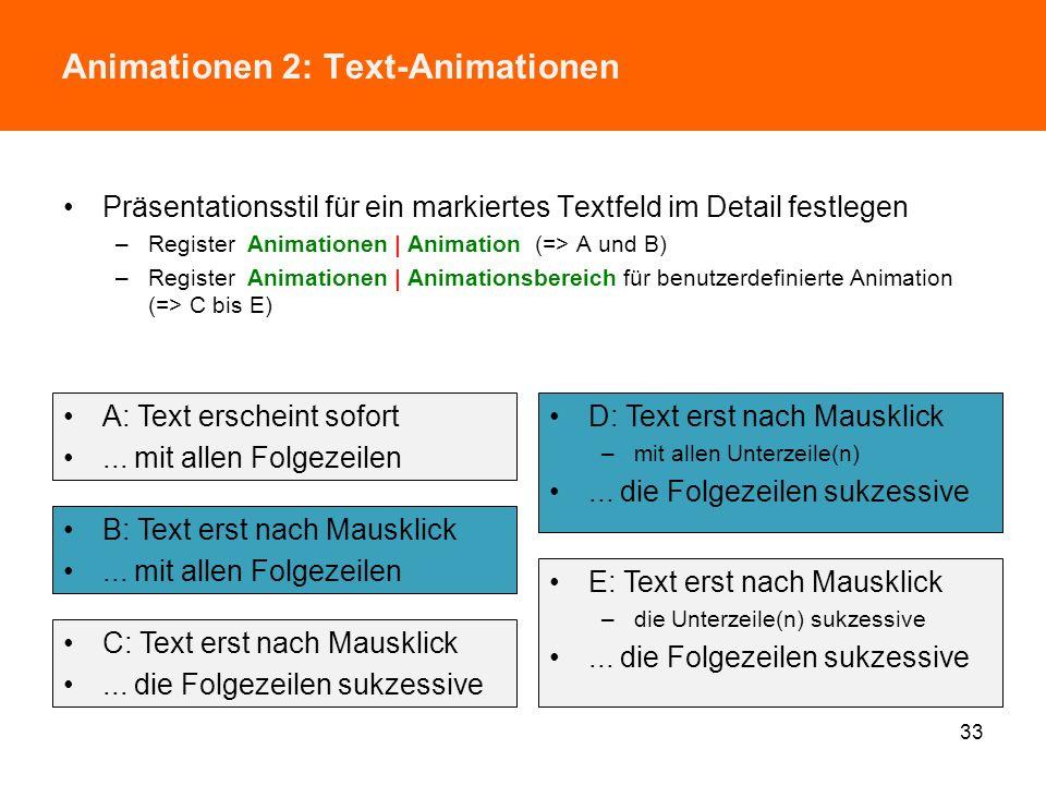 Animationen 1: Folienübergänge Effekte für Übergänge zwischen den Folien festlegen –Register Übergänge | Übergang zu dieser Folie –vgl. Datei