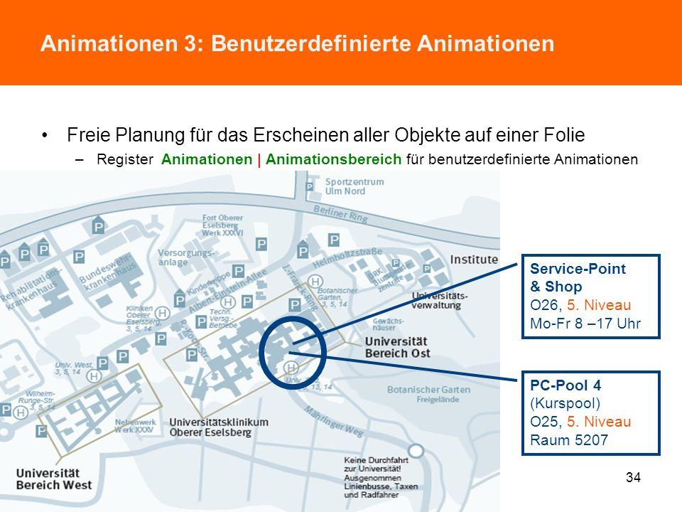 Animationen 2: Text-Animationen Präsentationsstil für ein markiertes Textfeld im Detail festlegen –Register Animationen | Animation (=> A und B) –Regi