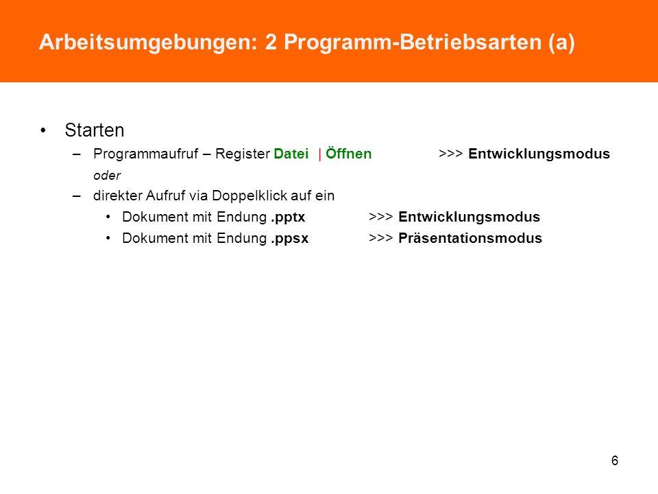 Themenüberblick Sinn und (Programm-)Zweck Arbeitsoberfläche –Programmbetriebsarten, Arbeitsfenster, Programmeinstellungen Grundtechniken –Präsentation