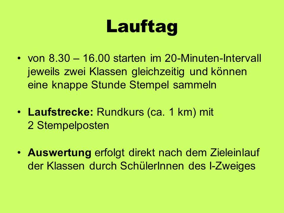 Lauftag von 8.30 – 16.00 starten im 20-Minuten-Intervall jeweils zwei Klassen gleichzeitig und können eine knappe Stunde Stempel sammeln Laufstrecke: Rundkurs (ca.