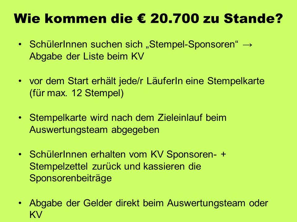 """Wie kommen die € 20.700 zu Stande? SchülerInnen suchen sich """"Stempel-Sponsoren"""" → Abgabe der Liste beim KV vor dem Start erhält jede/r LäuferIn eine S"""