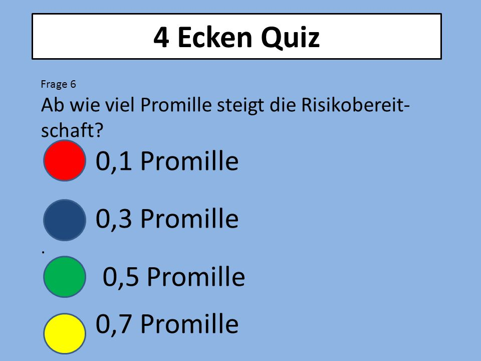 4 Ecken Quiz Frage 6 Ab wie viel Promille steigt die Risikobereit- schaft? 0,1 Promille 0,3 Promille. 0,5 Promille 0,7 Promille