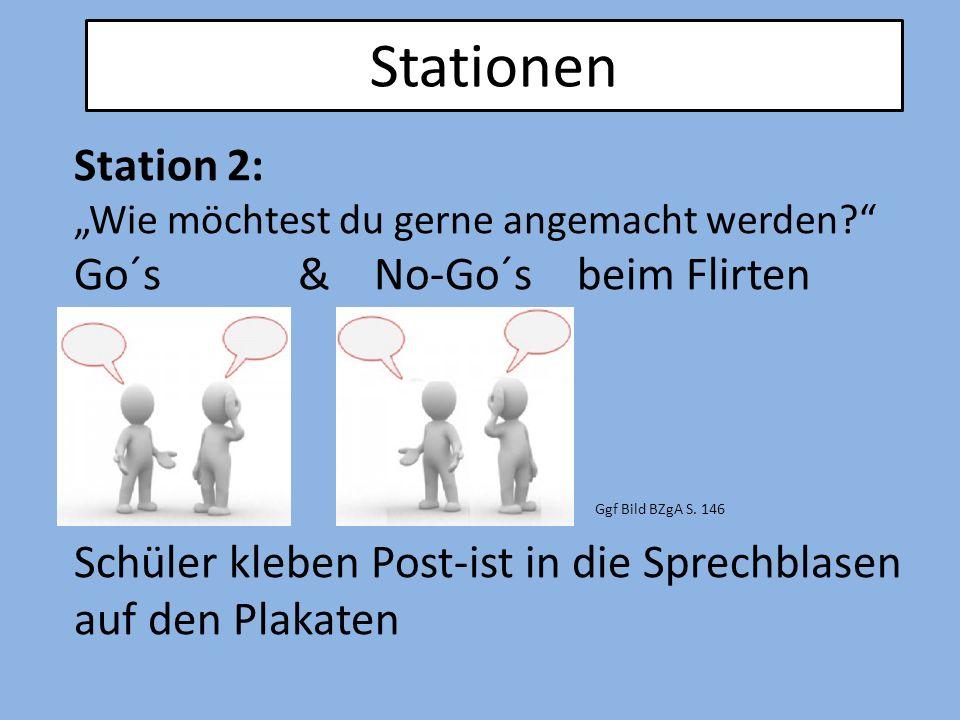 """Stationen Station 2: """"Wie möchtest du gerne angemacht werden?"""" Go´s & No-Go´s beim Flirten Schüler kleben Post-ist in die Sprechblasen auf den Plakate"""