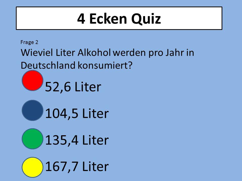 4 Ecken Quiz Frage 2 Wieviel Liter Alkohol werden pro Jahr in Deutschland konsumiert.