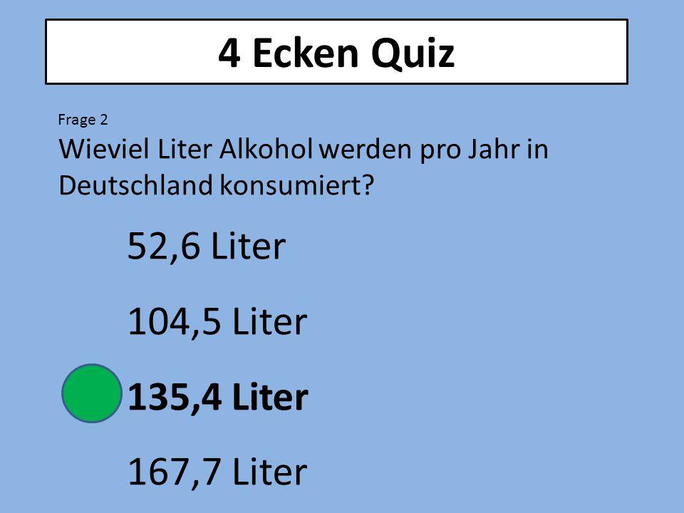 4 Ecken Quiz Frage 2 Wieviel Liter Alkohol werden pro Jahr in Deutschland konsumiert? 52,6 Liter 104,5 Liter 135,4 Liter 167,7 Liter