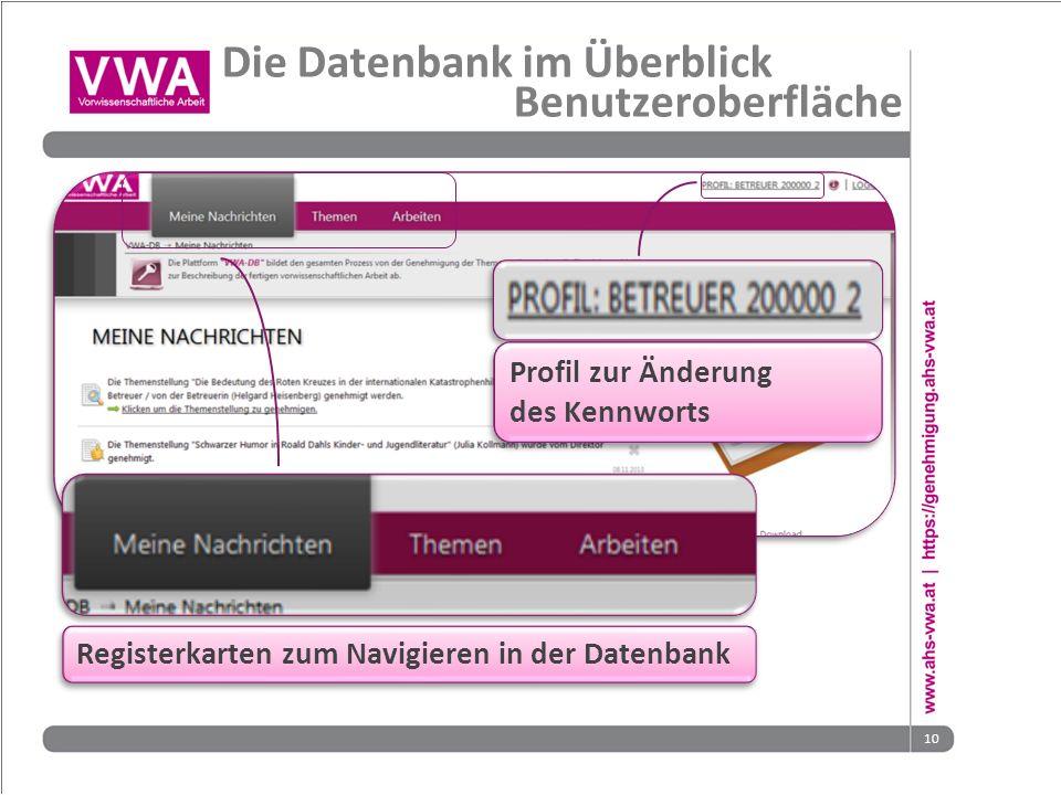 10 Profil zur Änderung des Kennworts Profil zur Änderung des Kennworts Die Datenbank im Überblick Benutzeroberfläche Registerkarten zum Navigieren in der Datenbank