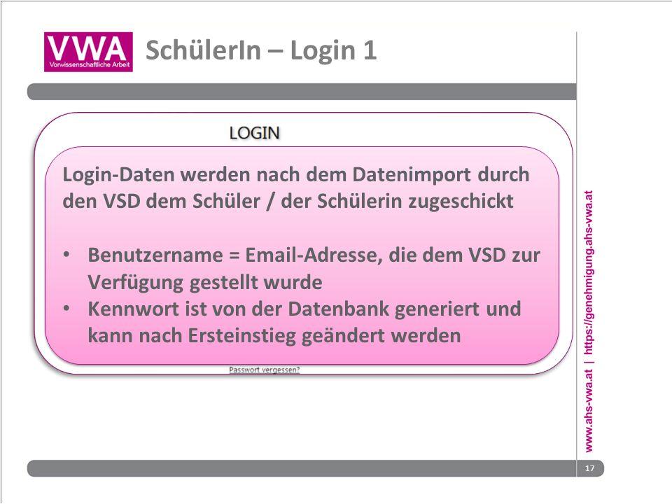17 SchülerIn – Login 1 Login-Daten werden nach dem Datenimport durch den VSD dem Schüler / der Schülerin zugeschickt Benutzername = Email-Adresse, die dem VSD zur Verfügung gestellt wurde Kennwort ist von der Datenbank generiert und kann nach Ersteinstieg geändert werden Login-Daten werden nach dem Datenimport durch den VSD dem Schüler / der Schülerin zugeschickt Benutzername = Email-Adresse, die dem VSD zur Verfügung gestellt wurde Kennwort ist von der Datenbank generiert und kann nach Ersteinstieg geändert werden