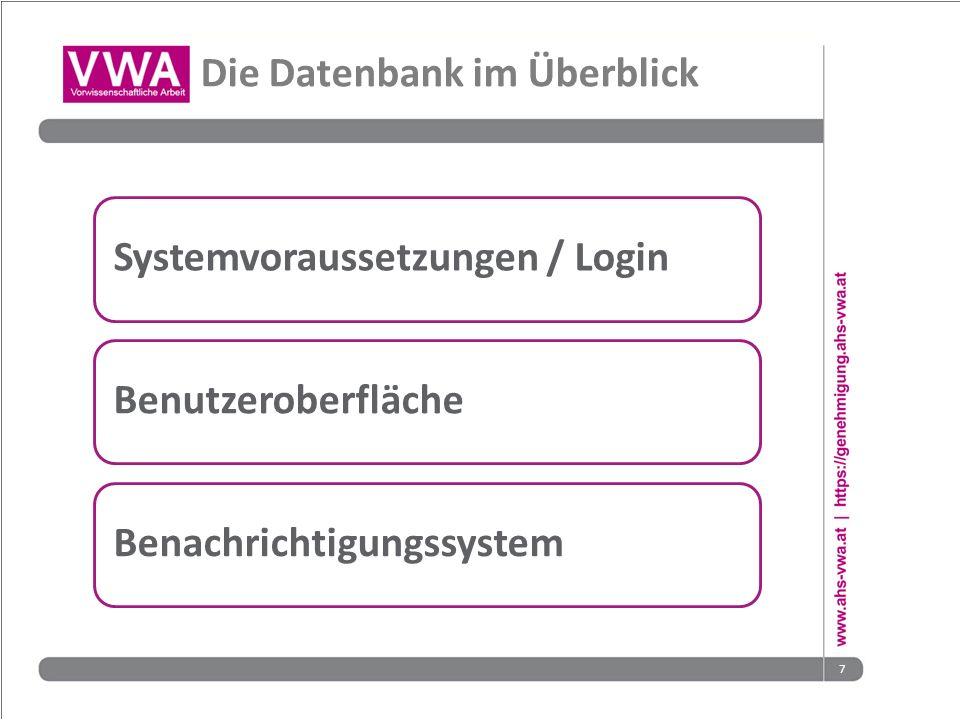 7 Die Datenbank im Überblick Systemvoraussetzungen / LoginBenutzeroberflächeBenachrichtigungssystem
