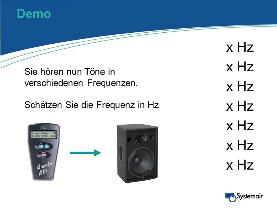 Demo x Hz Sie hören nun Töne in verschiedenen Frequenzen. Schätzen Sie die Frequenz in Hz