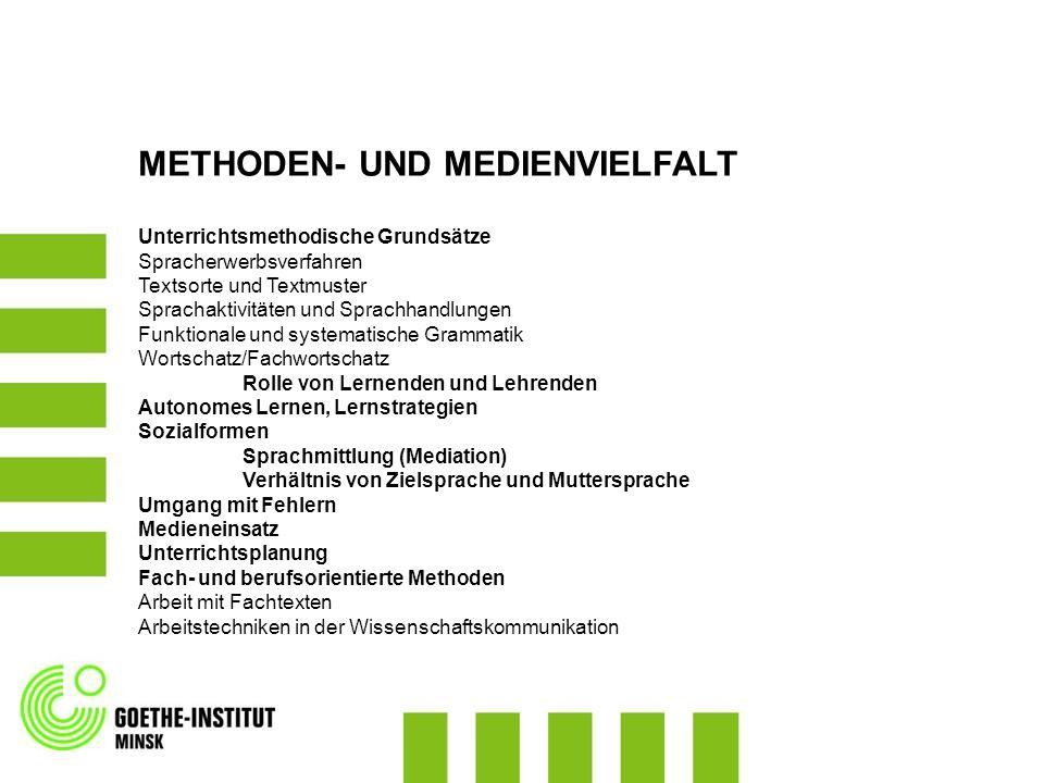 METHODEN- UND MEDIENVIELFALT Unterrichtsmethodische Grundsätze Spracherwerbsverfahren Textsorte und Textmuster Sprachaktivitäten und Sprachhandlungen