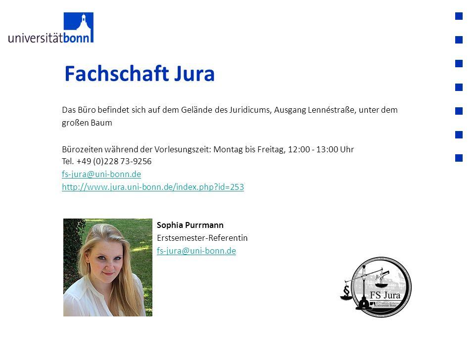 Fachschaft Jura Das Büro befindet sich auf dem Gelände des Juridicums, Ausgang Lennéstraße, unter dem großen Baum Bürozeiten während der Vorlesungszei