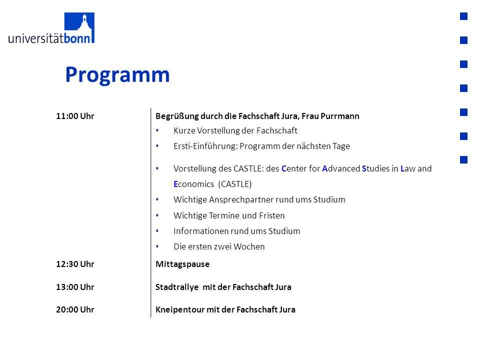 Programm 11:00 UhrBegrüßung durch die Fachschaft Jura, Frau Purrmann Kurze Vorstellung der Fachschaft Ersti-Einführung: Programm der nächsten Tage Vor