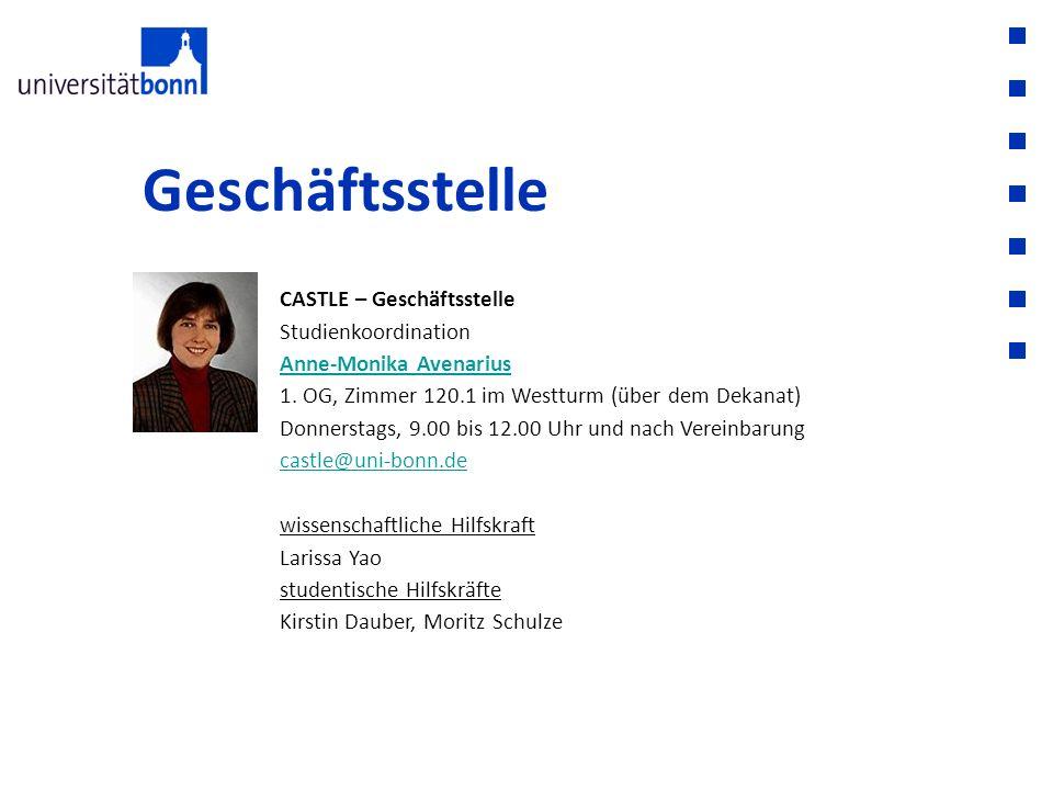 Geschäftsstelle CASTLE – Geschäftsstelle Studienkoordination Anne-Monika Avenarius Anne-Monika Avenarius 1. OG, Zimmer 120.1 im Westturm (über dem Dek