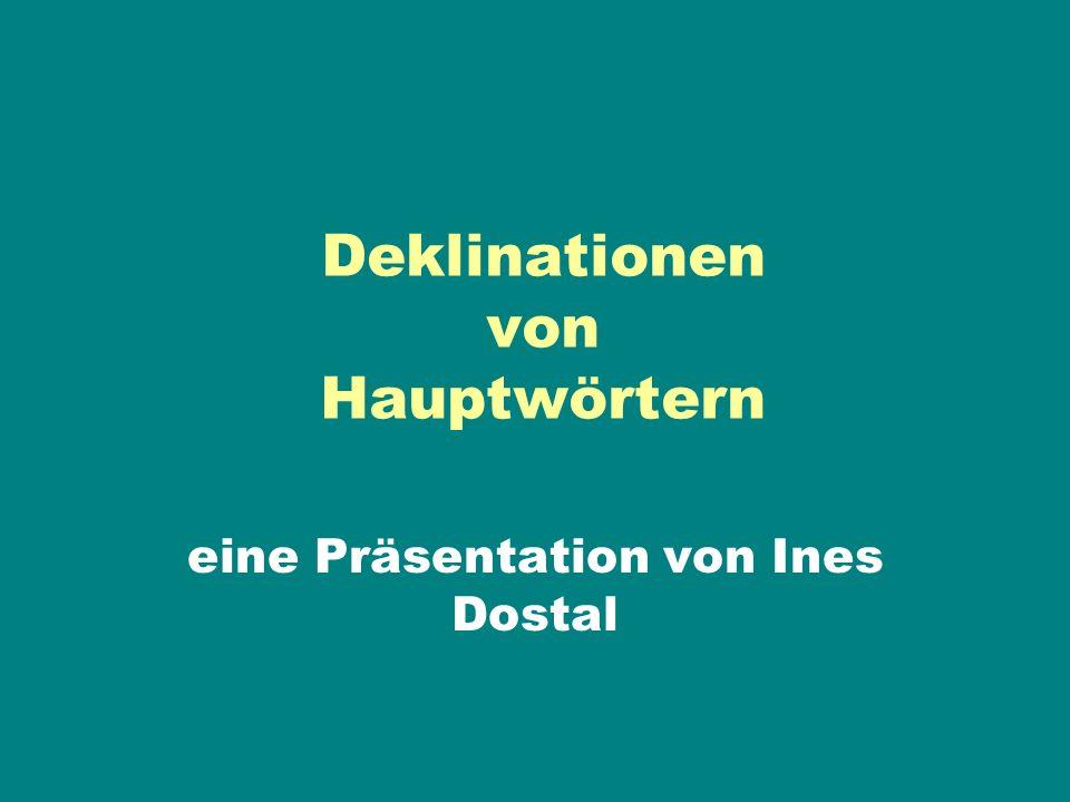 Deklinationen von Hauptwörtern eine Präsentation von Ines Dostal