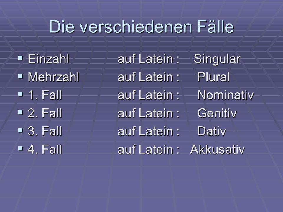 Die verschiedenen Fälle  Einzahl auf Latein : Singular  Mehrzahl auf Latein : Plural  1. Fall auf Latein : Nominativ  2. Fall auf Latein : Genitiv