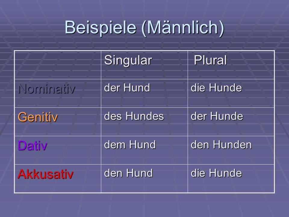 Beispiele (Männlich) Singular Plural Plural Nominativ der Hund die Hunde Genitiv des Hundes der Hunde Dativ dem Hund den Hunden Akkusativ den Hund die