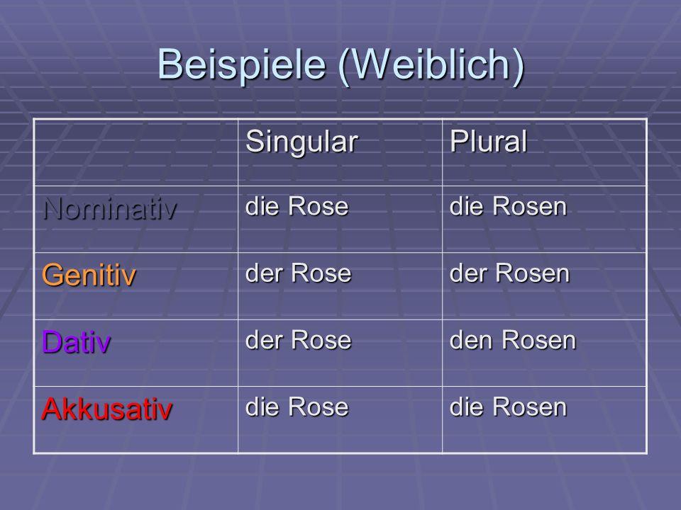 Beispiele (Weiblich) SingularPlural Nominativ die Rose die Rosen Genitiv der Rose der Rosen Dativ der Rose den Rosen Akkusativ die Rose die Rosen