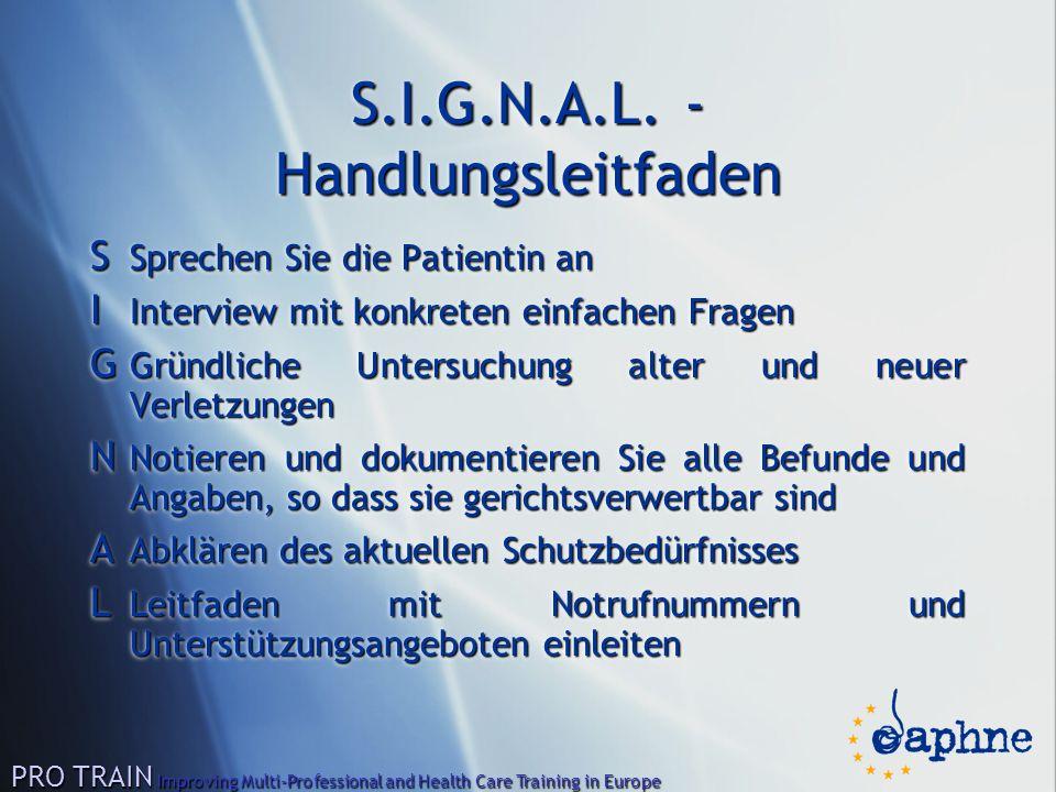 S.I.G.N.A.L. - Handlungsleitfaden S Sprechen Sie die Patientin an I Interview mit konkreten einfachen Fragen G Gründliche Untersuchung alter und neuer