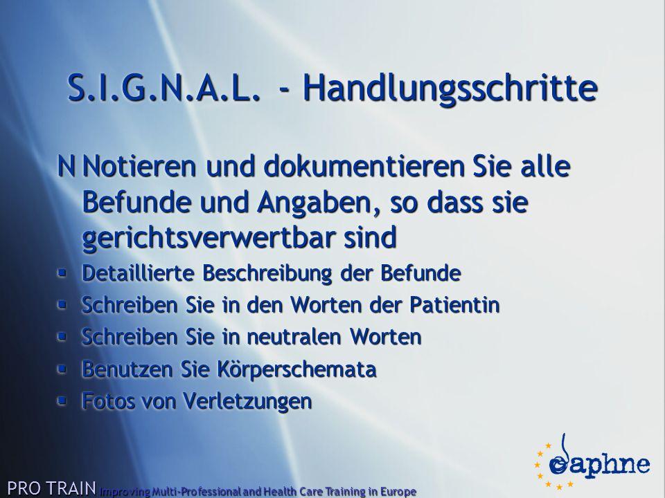 S.I.G.N.A.L. - Handlungsschritte NNotieren und dokumentieren Sie alle Befunde und Angaben, so dass sie gerichtsverwertbar sind  Detaillierte Beschrei