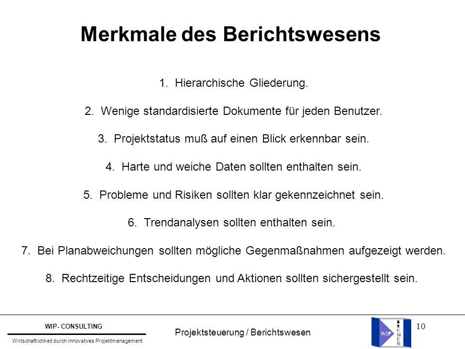 10 Merkmale des Berichtswesens 1. Hierarchische Gliederung. 2. Wenige standardisierte Dokumente für jeden Benutzer. 3. Projektstatus muß auf einen Bli