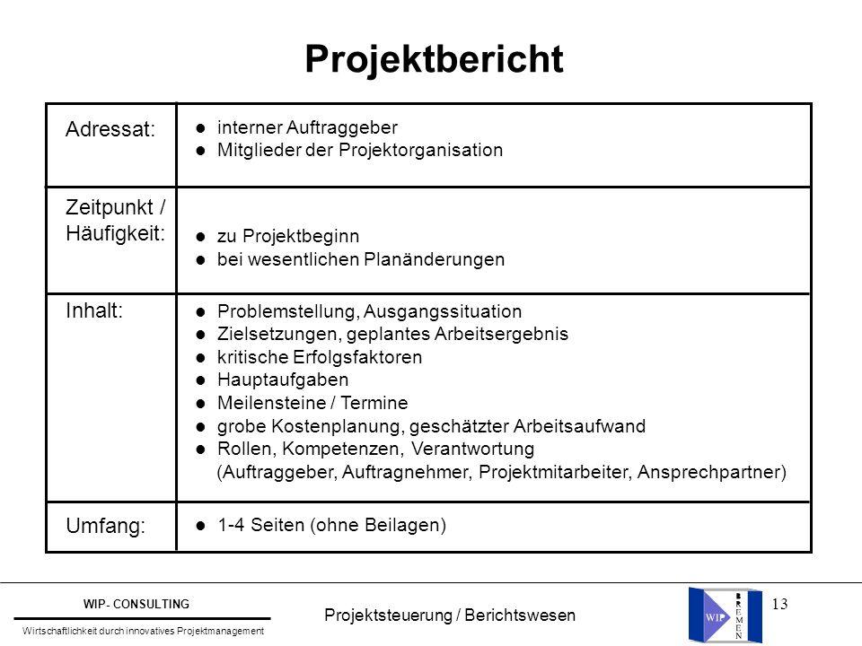 13 Projektbericht Adressat: Zeitpunkt / Häufigkeit: Inhalt: Umfang: l interner Auftraggeber l Mitglieder der Projektorganisation l zu Projektbeginn l