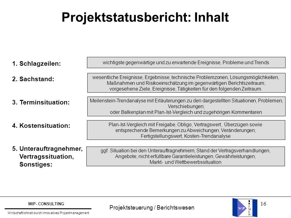 16 Projektstatusbericht: Inhalt 1. Schlagzeilen: 2. Sachstand: 3. Terminsituation: 4. Kostensituation: 5. Unterauftragnehmer, Vertragssituation, Sonst