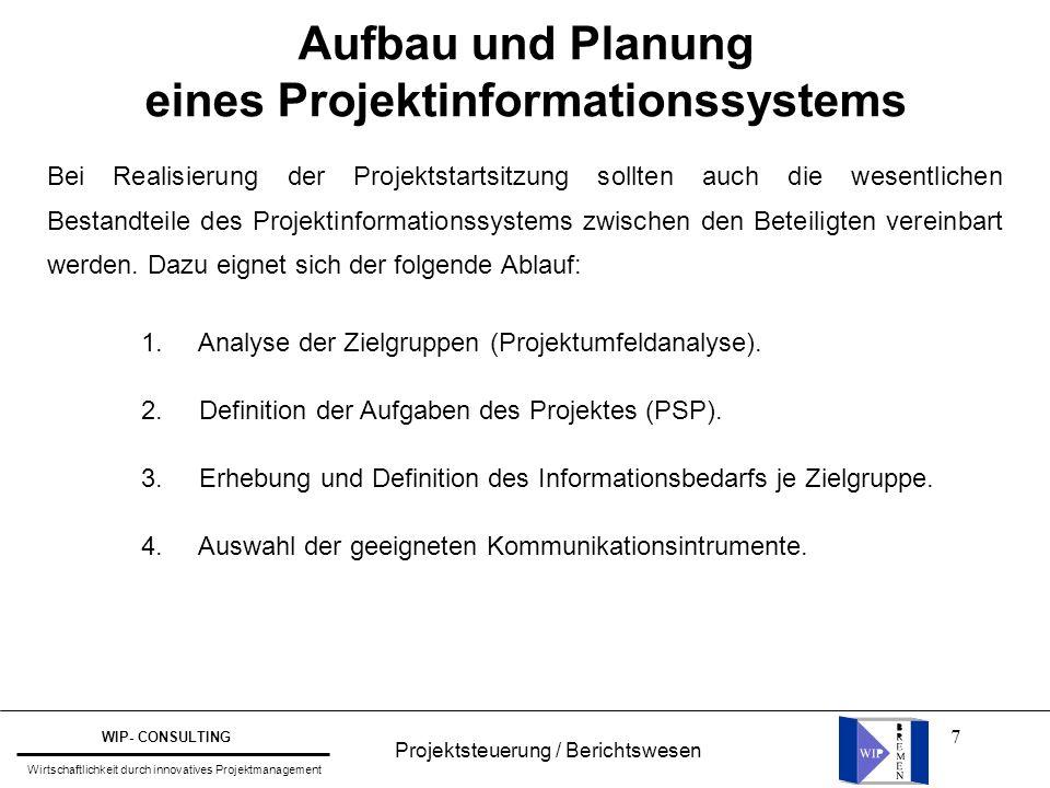 7 Aufbau und Planung eines Projektinformationssystems Bei Realisierung der Projektstartsitzung sollten auch die wesentlichen Bestandteile des Projekti