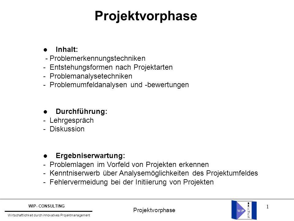 1 Projektvorphase WIP- CONSULTING Wirtschaftlichkeit durch innovatives Projektmanagement l Inhalt: - Problemerkennungstechniken - Entstehungsformen na
