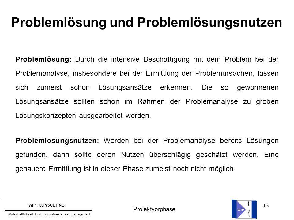 15 Problemlösung und Problemlösungsnutzen Problemlösung: Durch die intensive Beschäftigung mit dem Problem bei der Problemanalyse, insbesondere bei de