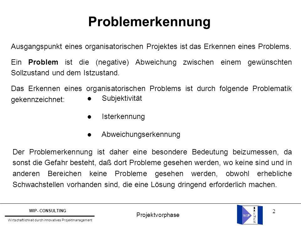 2 Problemerkennung Ausgangspunkt eines organisatorischen Projektes ist das Erkennen eines Problems. Ein Problem ist die (negative) Abweichung zwischen