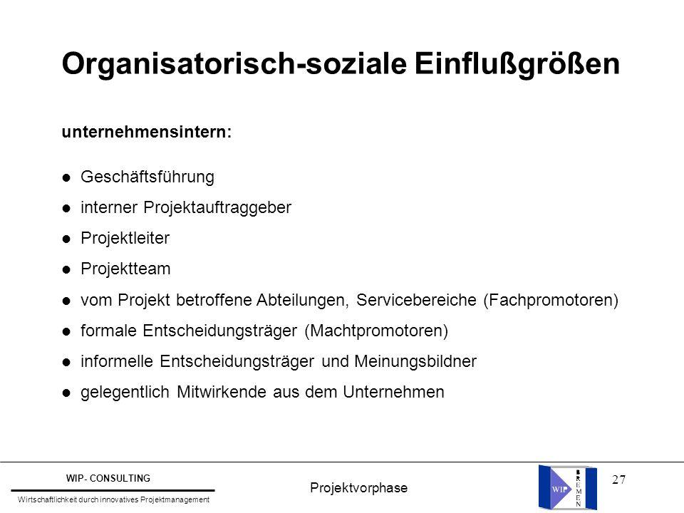 27 Organisatorisch-soziale Einflußgrößen unternehmensintern: l Geschäftsführung l interner Projektauftraggeber l Projektleiter l Projektteam l vom Pro
