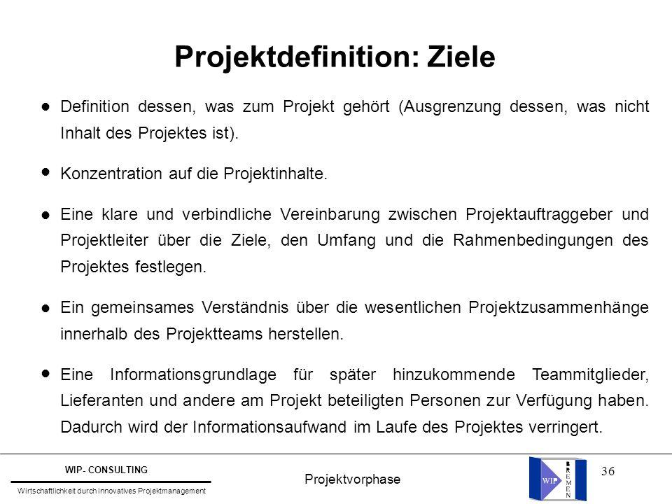 36 Projektdefinition: Ziele Definition dessen, was zum Projekt gehört (Ausgrenzung dessen, was nicht Inhalt des Projektes ist). Konzentration auf die