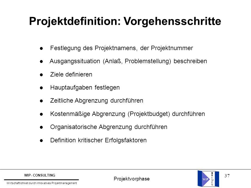 37 Projektdefinition: Vorgehensschritte l Festlegung des Projektnamens, der Projektnummer l Ausgangssituation (Anlaß, Problemstellung) beschreiben l Z