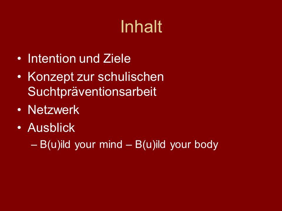 Inhalt Intention und Ziele Konzept zur schulischen Suchtpräventionsarbeit Netzwerk Ausblick –B(u)ild your mind – B(u)ild your body