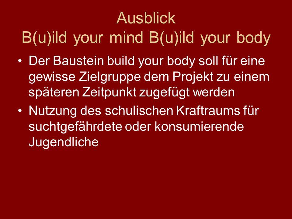 Ausblick B(u)ild your mind B(u)ild your body Der Baustein build your body soll für eine gewisse Zielgruppe dem Projekt zu einem späteren Zeitpunkt zug