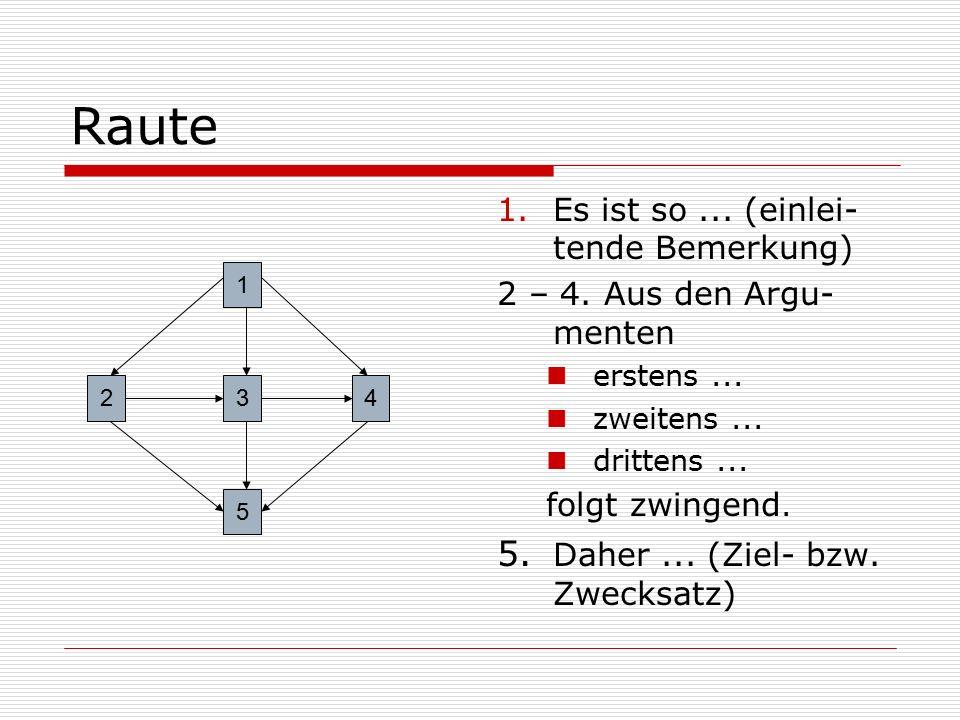 Raute 1.Es ist so... (einlei- tende Bemerkung) 2 – 4. Aus den Argu- menten erstens... zweitens... drittens... folgt zwingend. 5. Daher... (Ziel- bzw.