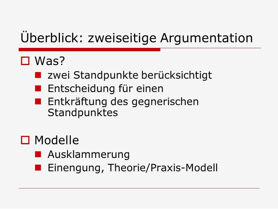 Überblick: zweiseitige Argumentation  Was? zwei Standpunkte berücksichtigt Entscheidung für einen Entkräftung des gegnerischen Standpunktes  Modelle