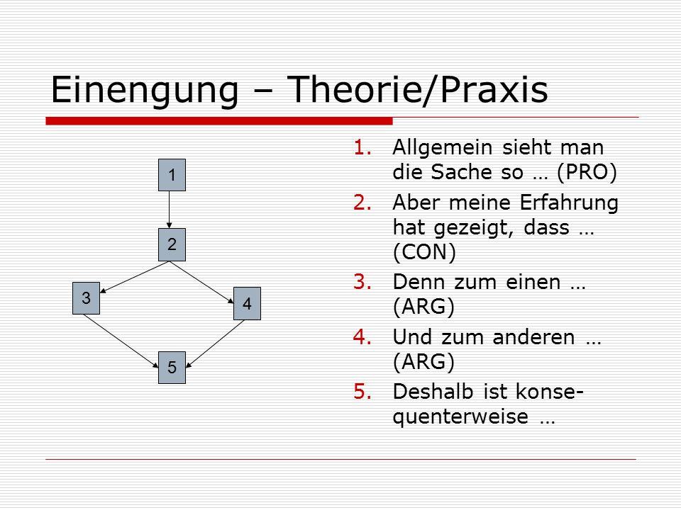 Einengung – Theorie/Praxis 1.Allgemein sieht man die Sache so … (PRO) 2.Aber meine Erfahrung hat gezeigt, dass … (CON) 3.Denn zum einen … (ARG) 4.Und